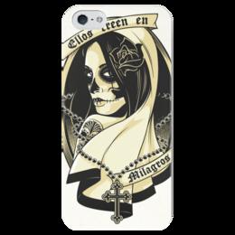 """Чехол для iPhone 5 глянцевый, с полной запечаткой """"Santa Muerte """" - skull, череп, девушка, смерть, санта муерте"""