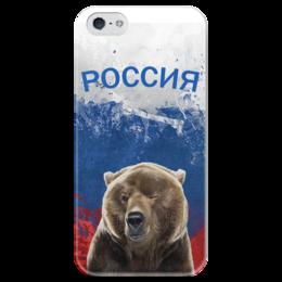 """Чехол для iPhone 5 глянцевый, с полной запечаткой """"Россия                 """" - россия, путин, флаг россии, медверь, паторитические"""