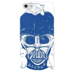 "Чехол для iPhone 5 глянцевый, с полной запечаткой ""Добрый Вейдер"" - star wars, darth vader, котята, звездные войны, дарт вейдер"