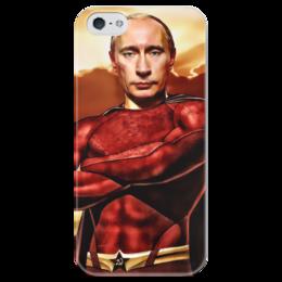 """Чехол для iPhone 5 глянцевый, с полной запечаткой """"Путин - superhero"""" - россия, политика, путин, президент, я люблю"""
