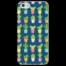 "Чехол для iPhone 5 глянцевый, с полной запечаткой ""Кактусы"" - кактус"