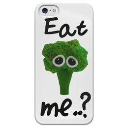 """Чехол для iPhone 5 глянцевый, с полной запечаткой """"Eat me..?"""" - еда, sad, мимими, брокколи, broccoli"""