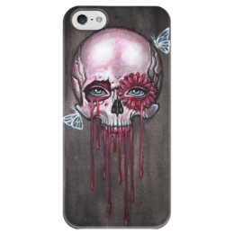 """Чехол для iPhone 5 глянцевый, с полной запечаткой """"Череп"""" - череп, бабочки, цветок, кровь, смерть"""