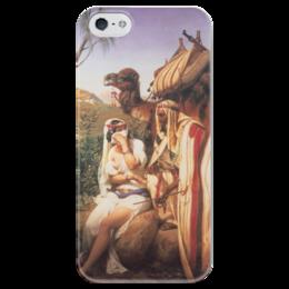 """Чехол для iPhone 5 глянцевый, с полной запечаткой """"Иуда и Фамарь (Орас Верне)"""" - картина, верне, библия"""