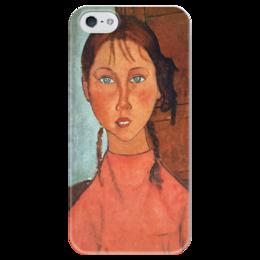 """Чехол для iPhone 5 глянцевый, с полной запечаткой """"Девочка с косичками (Амедео Модильяни)"""" - картина, модильяни"""