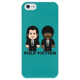 "Чехол для iPhone 5 глянцевый, с полной запечаткой ""Pulp Fiction"" - pulp fiction, тарантино, джон траволта, сэмюэл лерой джексон, криминальное чтиво"
