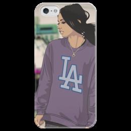 """Чехол для iPhone 5 глянцевый, с полной запечаткой """"SWAgGirl"""" - арт, девушка, girl, рисунок, swag, la"""