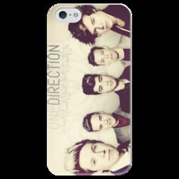 "Чехол для iPhone 5 глянцевый, с полной запечаткой ""One direction"" - музыка, группа, бой-бэнд"