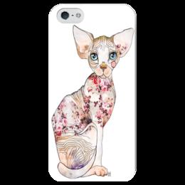 """Чехол для iPhone 5 глянцевый, с полной запечаткой """"Кот Сфинкс"""" - кот, графика, сфинкс, sphynx"""