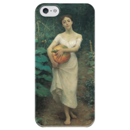 "Чехол для iPhone 5 глянцевый, с полной запечаткой ""Young Girl with a Pumpkin"" - картина, зонаро"