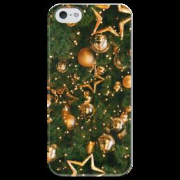 """Чехол для iPhone 5 глянцевый, с полной запечаткой """"Happy New Year"""" - праздник, звезды, ёлка, новыйгод, атмосферапраздника"""