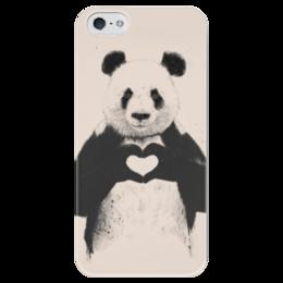 """Чехол для iPhone 5 глянцевый, с полной запечаткой """"Панда с сердечком"""" - сердце, любовь, панда"""