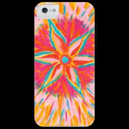 """Чехол для iPhone 5 глянцевый, с полной запечаткой """"Цветок радости"""" - арт, цветок, рисунок, весна, pink, spring, яркий принт"""