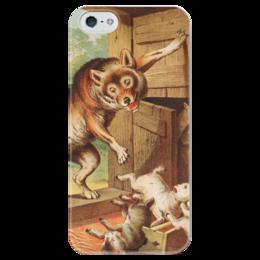 """Чехол для iPhone 5 глянцевый, с полной запечаткой """"Волк и семеро козлят"""" - картина, лёйтеманн"""