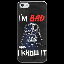 """Чехол для iPhone 5 глянцевый, с полной запечаткой """"I'm Bad and I know it (starwars)"""" - darth vader, звездные войны, starwars, звездный путь, дарт вейдер"""