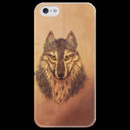 """Чехол для iPhone 5 глянцевый, с полной запечаткой """"Взгляд."""" - арт, хищник, рисунок, в подарок, лес, взгляд, зверь, волк, король севера, wolf"""