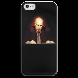 """Чехол для iPhone 5 глянцевый, с полной запечаткой """"Путин в темноте"""" - любовь, москва, владимир, россия, патриотизм, политика, путин, президент, putin, общество"""