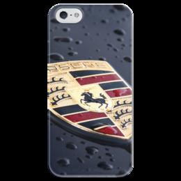 """Чехол для iPhone 5 глянцевый, с полной запечаткой """"porsche"""" - porsche, порше, автомобиль"""