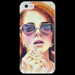 """Чехол для iPhone 5 глянцевый, с полной запечаткой """"Лана Дель Рей"""" - музыка, арт, красиво, модно, рисунок, очки, губы, певица, краски, артист"""