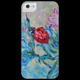 """Чехол для iPhone 5 глянцевый, с полной запечаткой """"Божья коровка"""" - красота, spring, ladybug, цветы"""