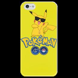 """Чехол для iPhone 5 глянцевый, с полной запечаткой """"Pokemon GO"""" - игра, покемон, пикачу, доллар, pikachu"""