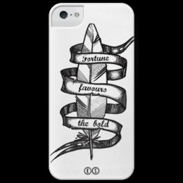 "Чехол для iPhone 5 глянцевый, с полной запечаткой ""Fortune"" - перо, фортуна, дотворк, feather, tm kiseleva, fortune, be bold"