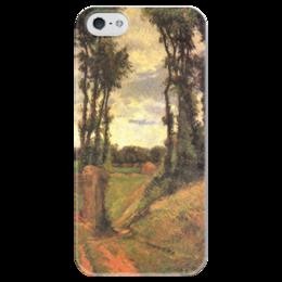 """Чехол для iPhone 5 глянцевый, с полной запечаткой """"Тополя, Осни"""" - картина, поль гоген"""