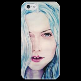 """Чехол для iPhone 5 глянцевый, с полной запечаткой """"Winter"""" - арт, девушка, синий, beauty, холод, cold, blue"""