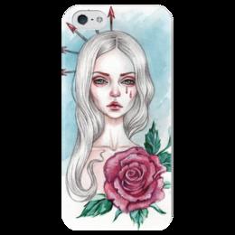 "Чехол для iPhone 5 глянцевый, с полной запечаткой ""Звезда хаоса"" - девушка, роза, мода, фэшн, звезда хаоса"