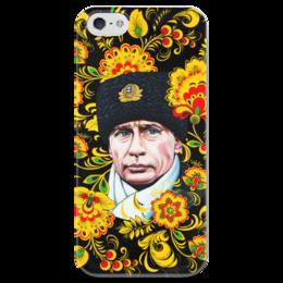 """Чехол для iPhone 5 глянцевый, с полной запечаткой """"Путин – Хохлома"""" - любовь, москва, владимир, россия, патриотизм, политика, путин, президент, putin, общество"""