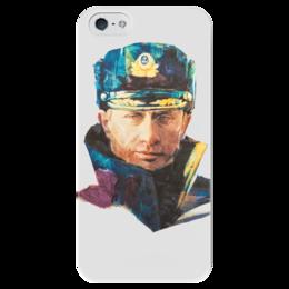 """Чехол для iPhone 5 глянцевый, с полной запечаткой """"Путин – Моряк в фуражке"""" - любовь, москва, владимир, россия, путин, президент, все путем, власть, моряк, рф"""