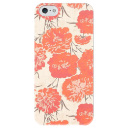 """Чехол для iPhone 5 глянцевый, с полной запечаткой """"Красные пионы"""" - цветы, винтаж, пионы, красные пионы"""