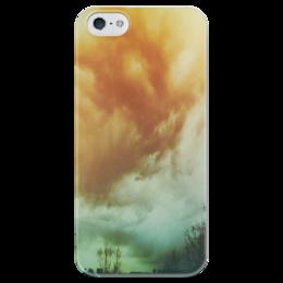 """Чехол для iPhone 5 глянцевый, с полной запечаткой """"Облака"""" - деревья, sky, облака, пейзаж, фон"""