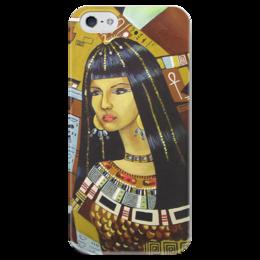"""Чехол для iPhone 5 глянцевый, с полной запечаткой """"Клеопатра """" - рисунок, египет, клеопатра"""