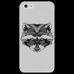 """Чехол для iPhone 5 глянцевый, с полной запечаткой """"Енот стилизованный"""" - енот, графика, рисунок"""