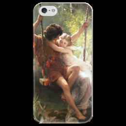 """Чехол для iPhone 5 глянцевый, с полной запечаткой """"Весна (Пьер Огюст Кот)"""" - кот, картина"""