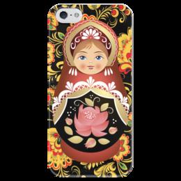 "Чехол для iPhone 5 глянцевый, с полной запечаткой ""Матрешка и Хохлома"" - матрешка, хохлома, russian doll"