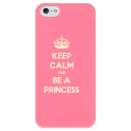 "Чехол для iPhone 5 глянцевый, с полной запечаткой ""Keep calm and be a princess!"" - white, girls, iphone, girl, text, pink, iphone5, cover, princess, keep calm"