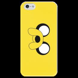"Чехол для iPhone 5 глянцевый, с полной запечаткой ""Adventure time"" - adventure time, время приключений, джейк, jake the dog"