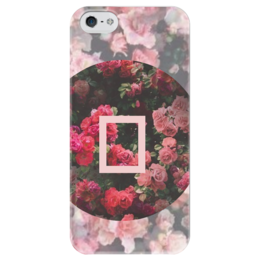 """Чехол для iPhone 5 глянцевый, с полной запечаткой """" ЦВЕТЫ"""" - сердце, красиво, heart, цветы, в подарок, девушке, мило, чехол"""