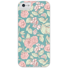 """Чехол для iPhone 5 глянцевый, с полной запечаткой """"Цветочный принт """" - арт, цветы, стиль, красота, flowers, подарок, леди, мило, old school, retro"""
