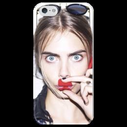 """Чехол для iPhone 5 глянцевый, с полной запечаткой """"Кара Делевинь"""" - cara delevingne, кара делевинь, топ модель"""