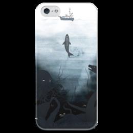 """Чехол для iPhone 5 глянцевый, с полной запечаткой """"Акула-каракула"""" - ocean, акула, iphone5, shark, редкие, deep sea"""