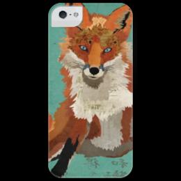 """Чехол для iPhone 5 глянцевый, с полной запечаткой """"Рыжая лиса"""" - fox, лиса, рыжая, рыжая лиса, red fox"""