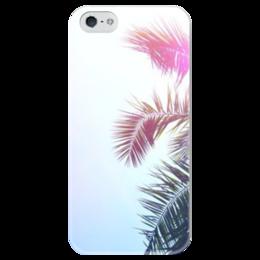 "Чехол для iPhone 5 глянцевый, с полной запечаткой ""Пальма"" - лето, summer, пальма, небо"