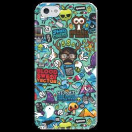 """Чехол для iPhone 5 глянцевый, с полной запечаткой """"Blood Sweat Vector"""" - sticker bombing, стикер-арт"""