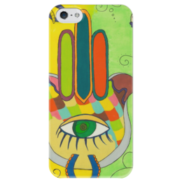 "Чехол для iPhone 5 глянцевый, с полной запечаткой ""Хамса. "" - рука бога, hamsa, five, amulet, амулет"