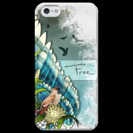 "Чехол для iPhone 5 глянцевый, с полной запечаткой ""Free "" - арт, крылья, wings, птицы, birds, небо, свобода, креативно, авина, feather"