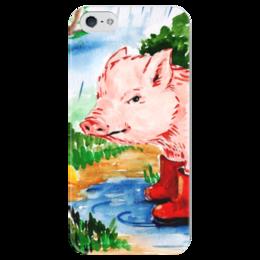 """Чехол для iPhone 5 глянцевый, с полной запечаткой """"Маленькая свинка"""" - ручная работа, детский рисунок, от детей, детская работа"""