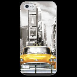 """Чехол для iPhone 5 глянцевый, с полной запечаткой """"Taxi  """" - new york, нью-йорк, америка, такси, nyc, taxi, yellow cab"""